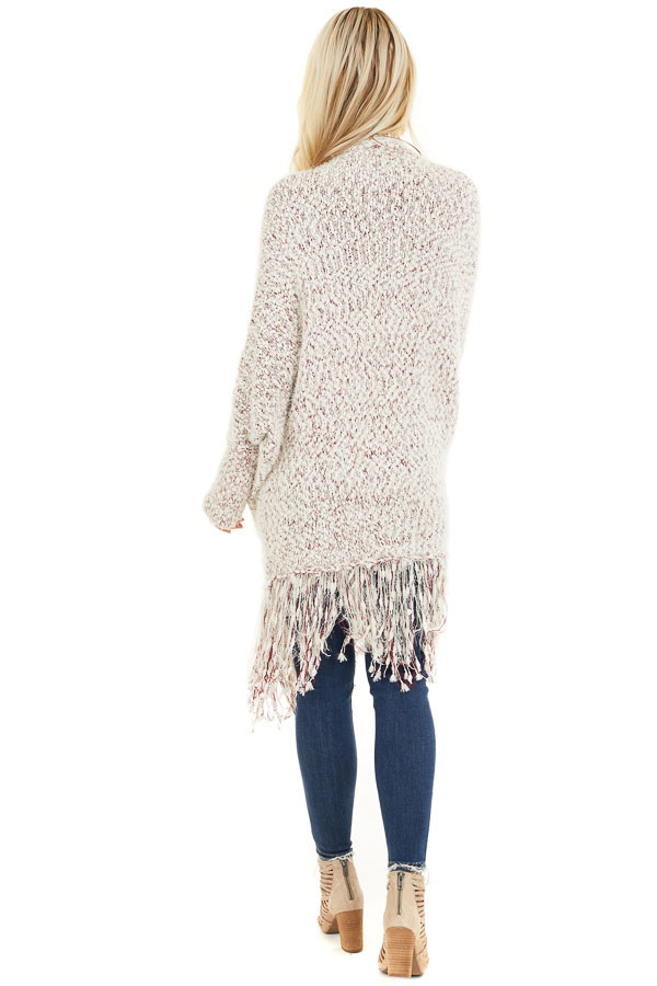 Ivory and Wine Soft Open Front Cardigan with Fringe Details back full body