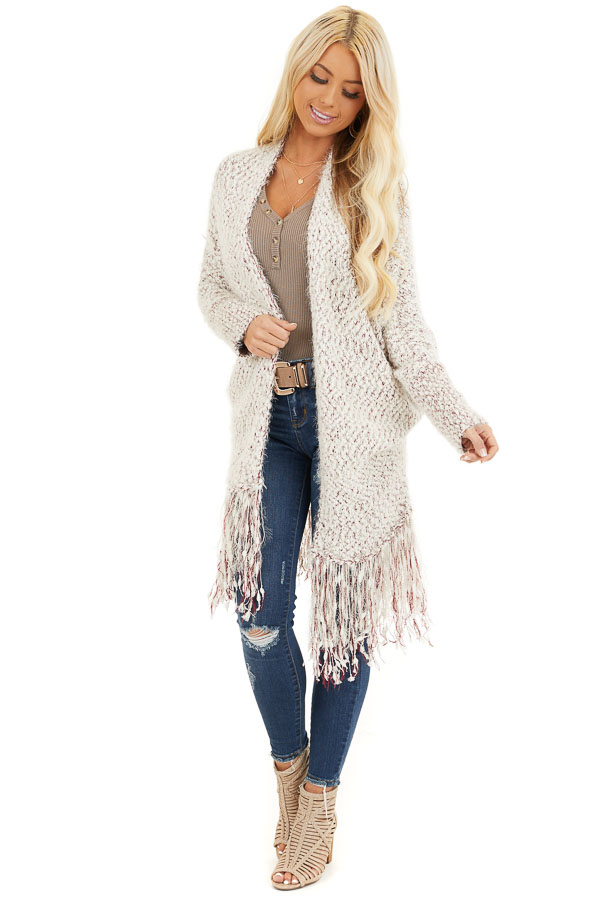 Ivory and Wine Soft Open Front Cardigan with Fringe Details front full body