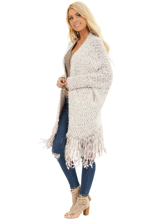 Ivory and Wine Soft Open Front Cardigan with Fringe Details side full body