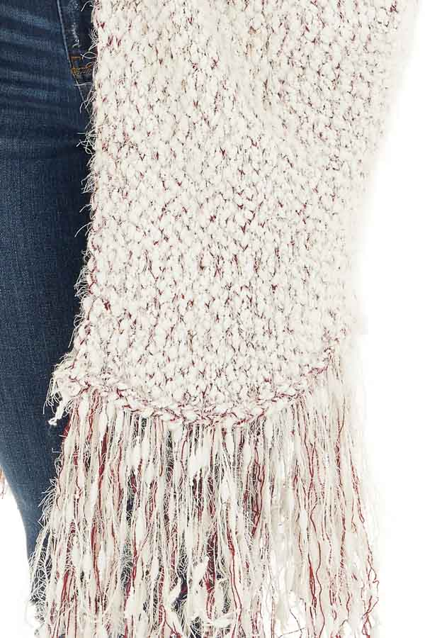 Ivory and Wine Soft Open Front Cardigan with Fringe Details detail