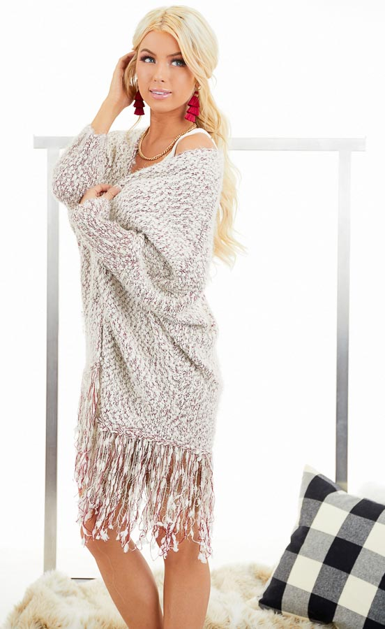 Ivory and Wine Soft Open Front Cardigan with Fringe Details