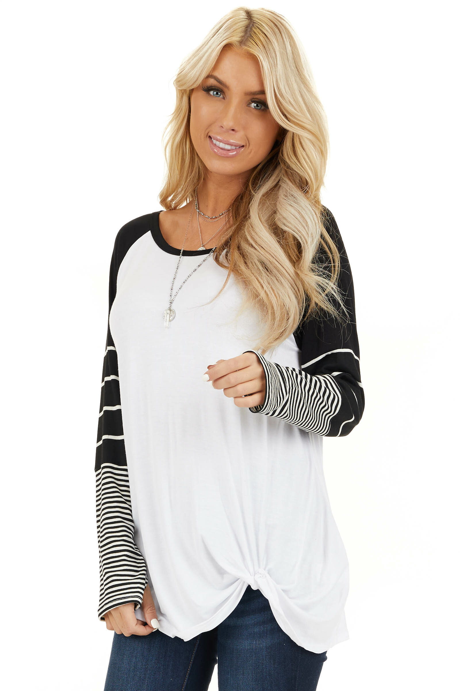 Black and White Knit Top with Long Striped Sleeves front close up
