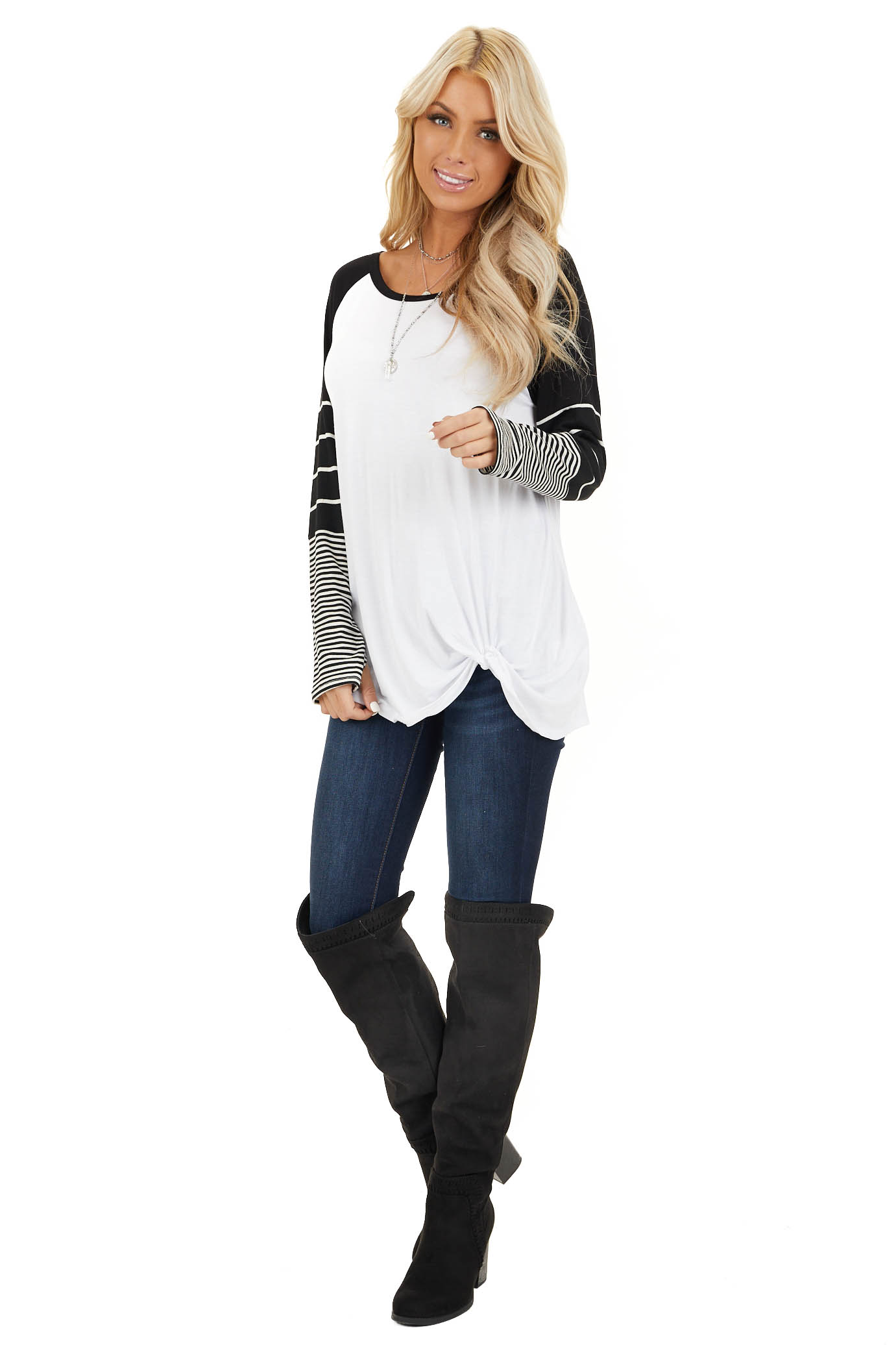 Black and White Knit Top with Long Striped Sleeves front full body