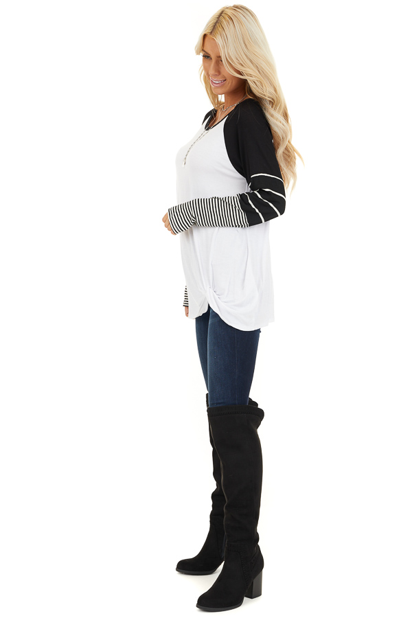 Black and White Knit Top with Long Striped Sleeves side full body