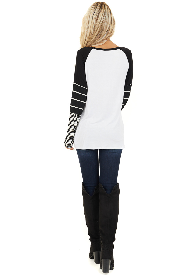 Black and White Knit Top with Long Striped Sleeves back full body