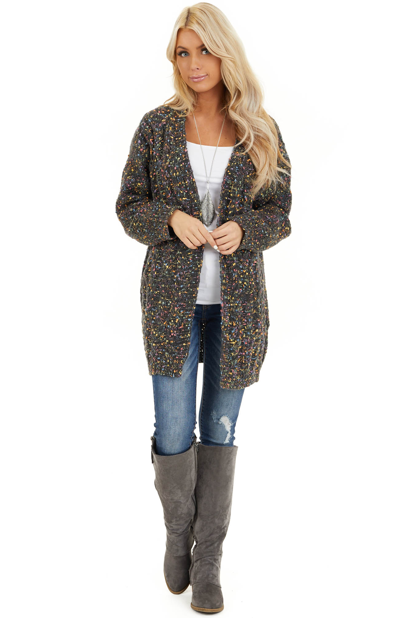 Charcoal Multi Color Open Front Cardigan with Long Sleeves front full body