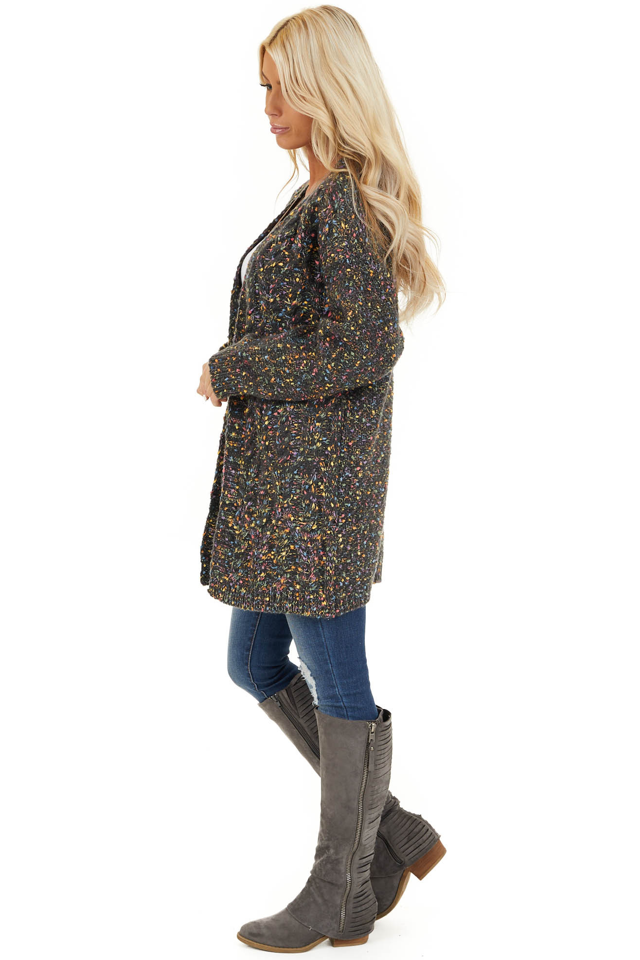 Charcoal Multi Color Open Front Cardigan with Long Sleeves side full body