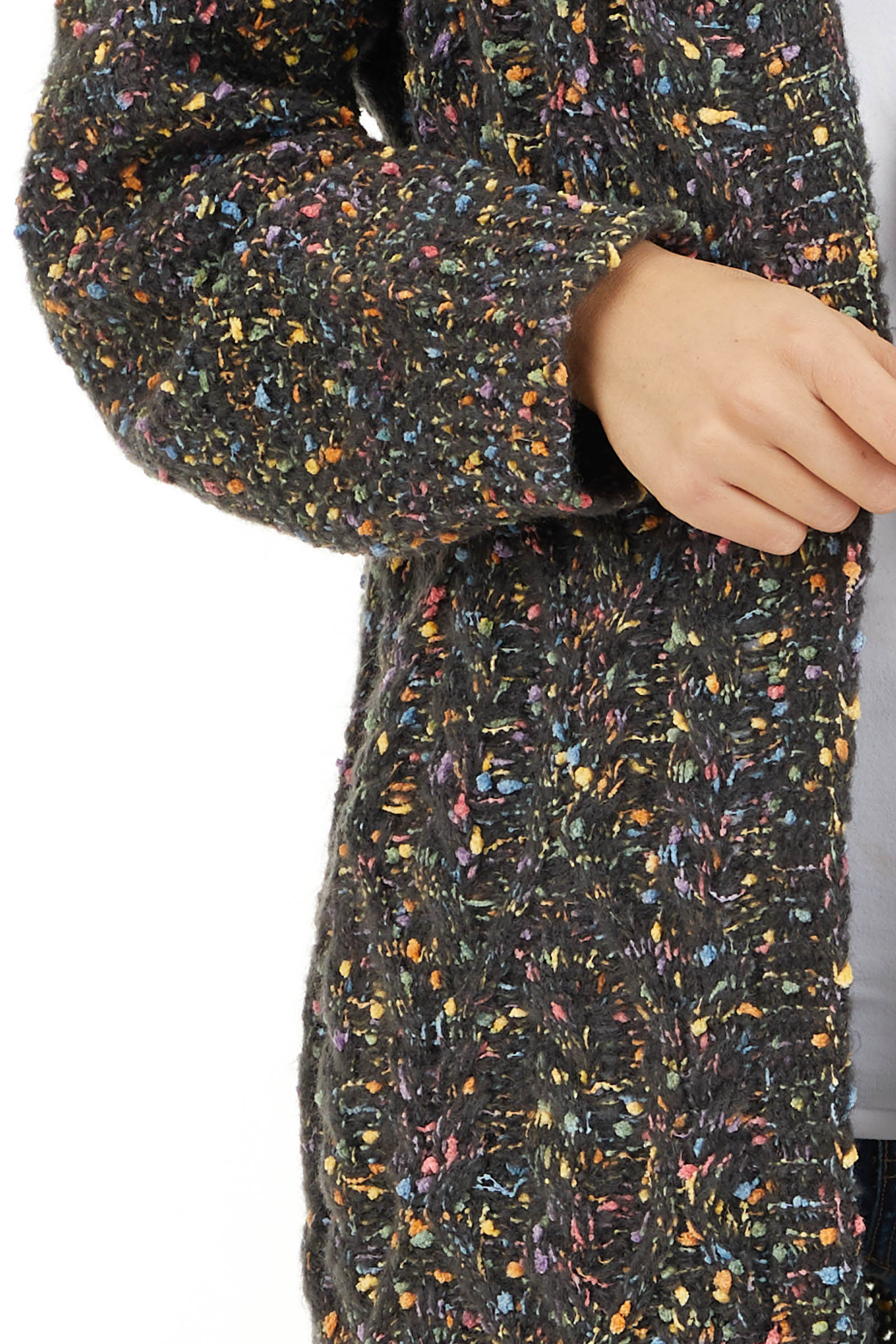 Charcoal Multi Color Open Front Cardigan with Long Sleeves detail
