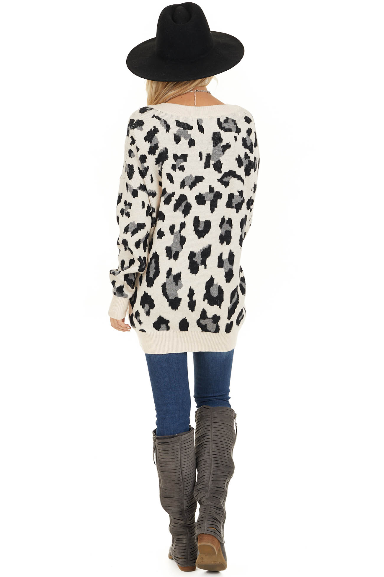 Champagne and Black Animal Print Sweater with V Neckline back full body