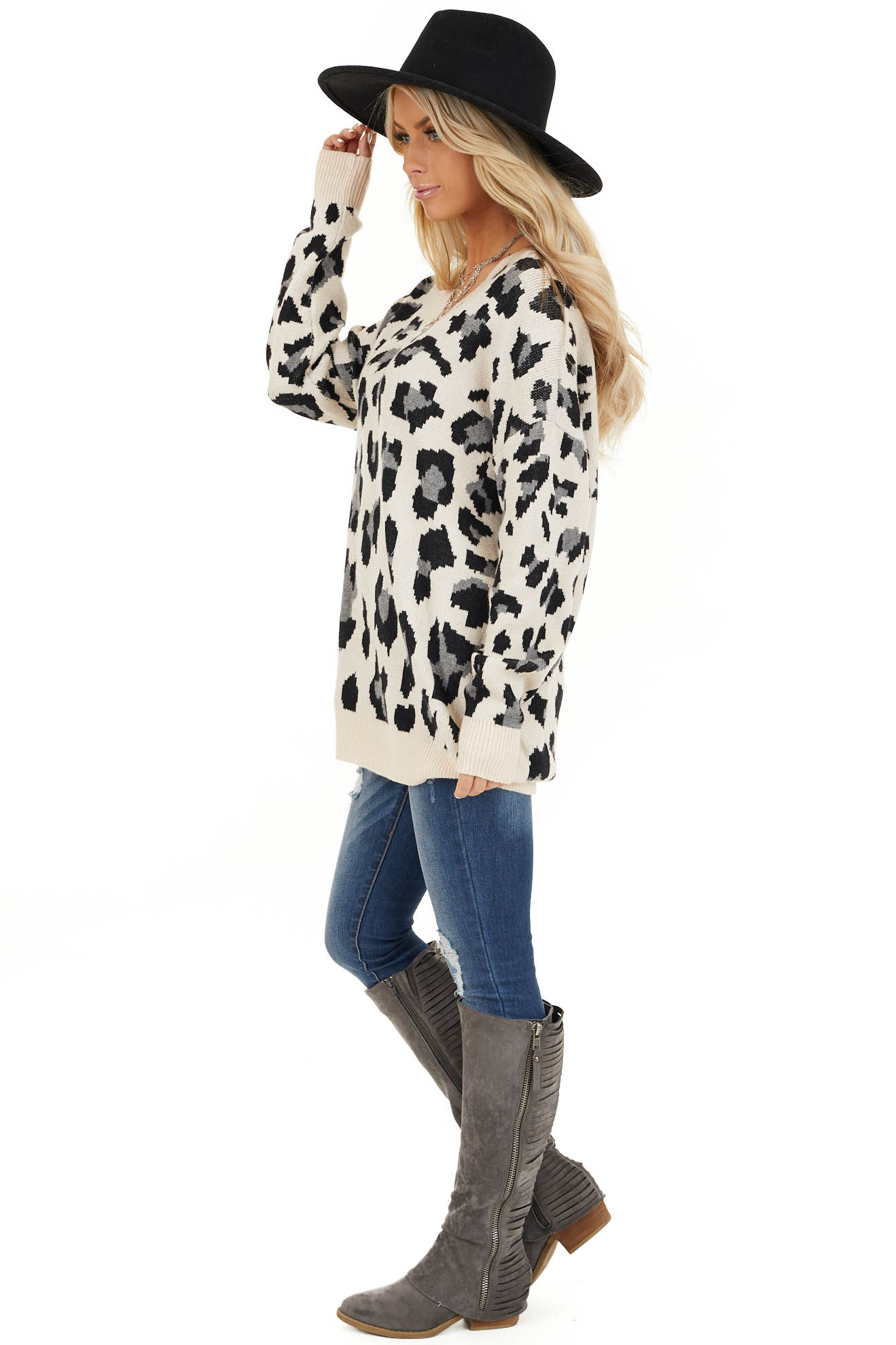 Champagne and Black Animal Print Sweater with V Neckline side full body