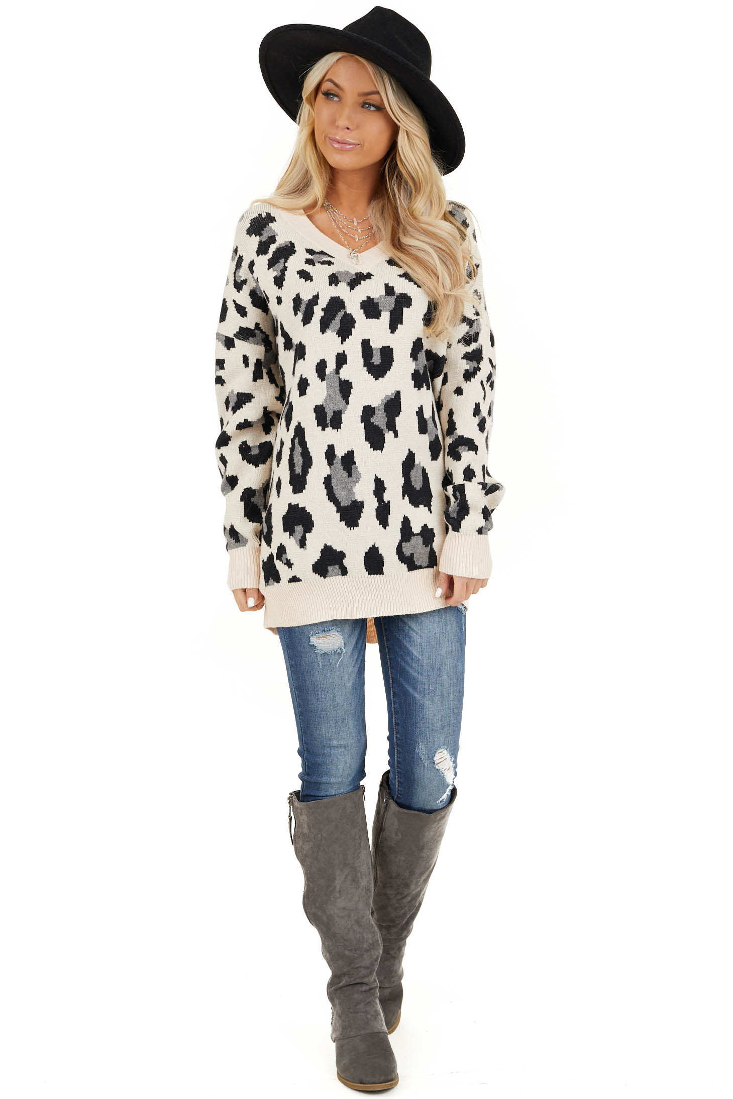 Champagne and Black Animal Print Sweater with V Neckline front full body