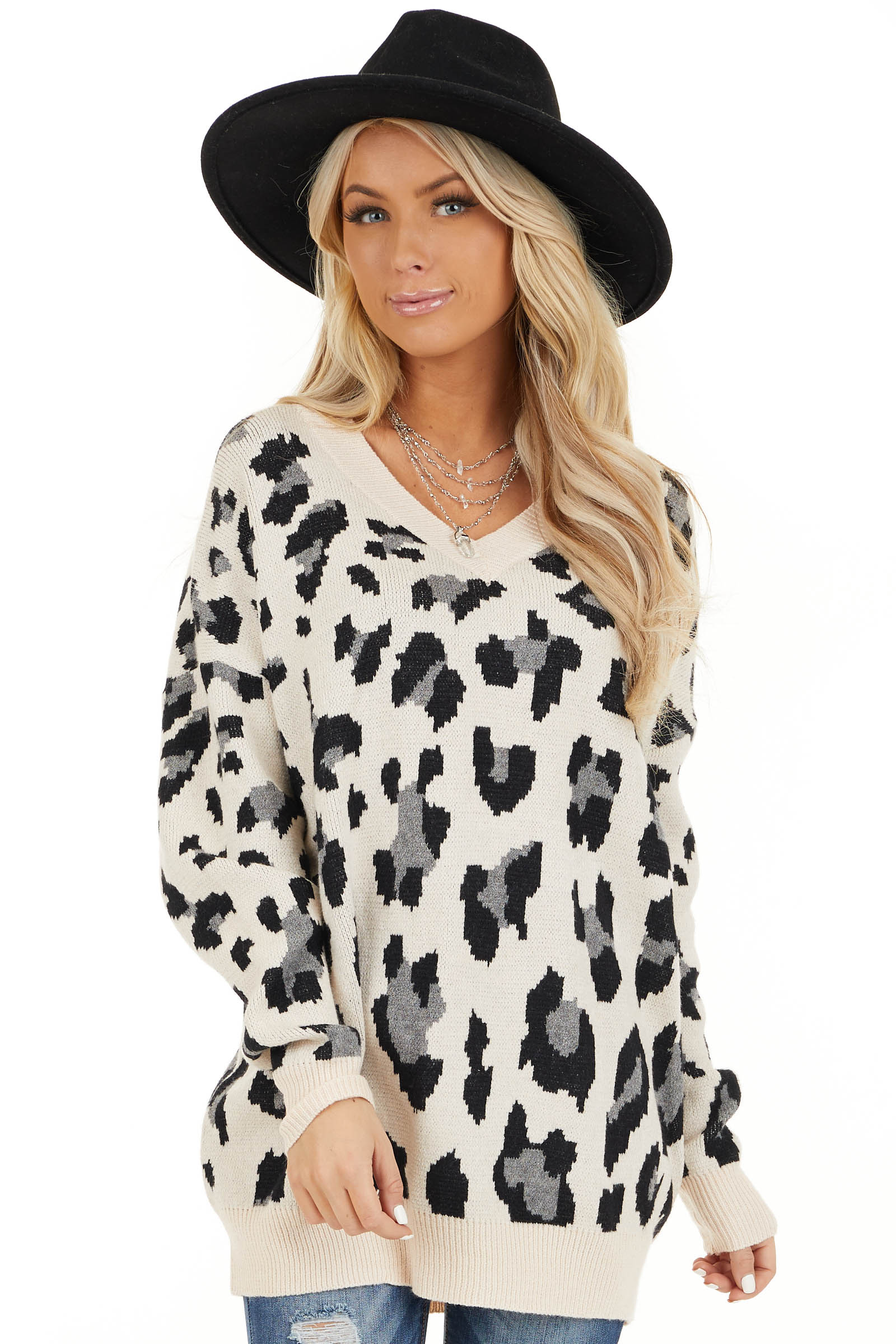 Champagne and Black Animal Print Sweater with V Neckline front close up