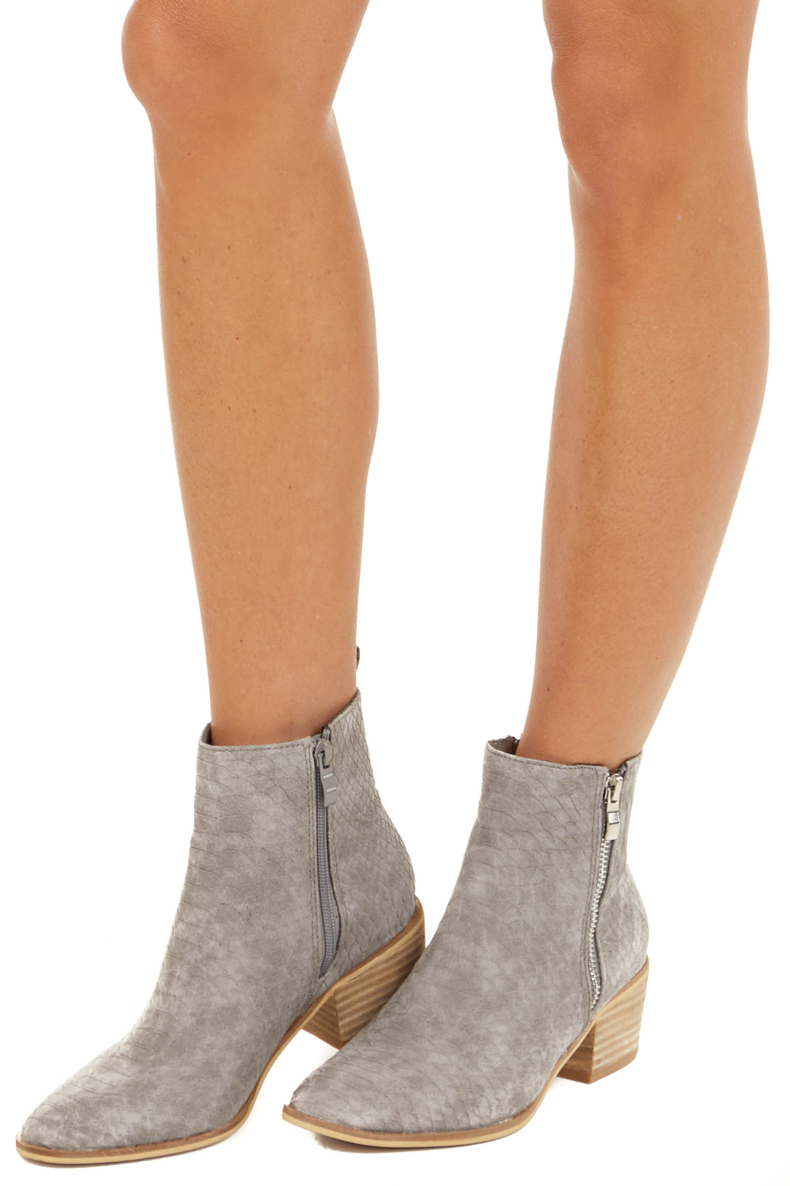 Stone Grey Textured Reptile Print Booties side view