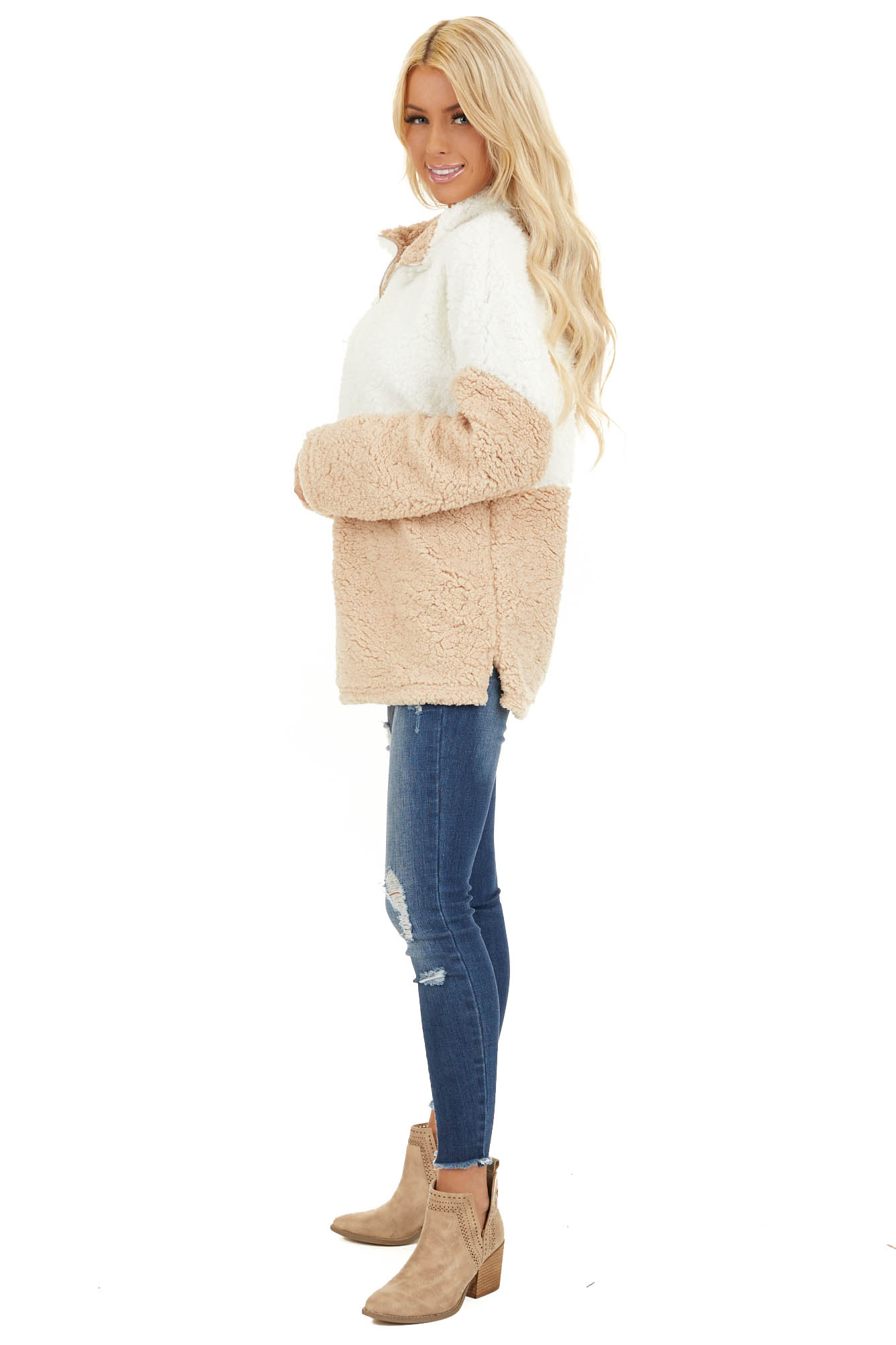 Ivory and Beige Zip Up Color Block Pullover Sweatshirt side full body