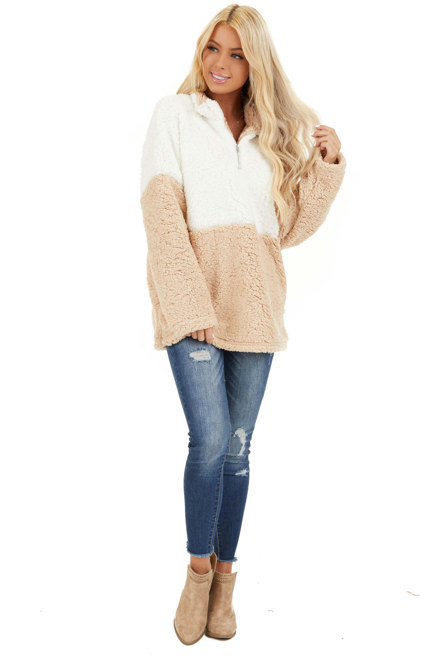 Ivory and Beige Zip Up Color Block Pullover Sweatshirt front full body