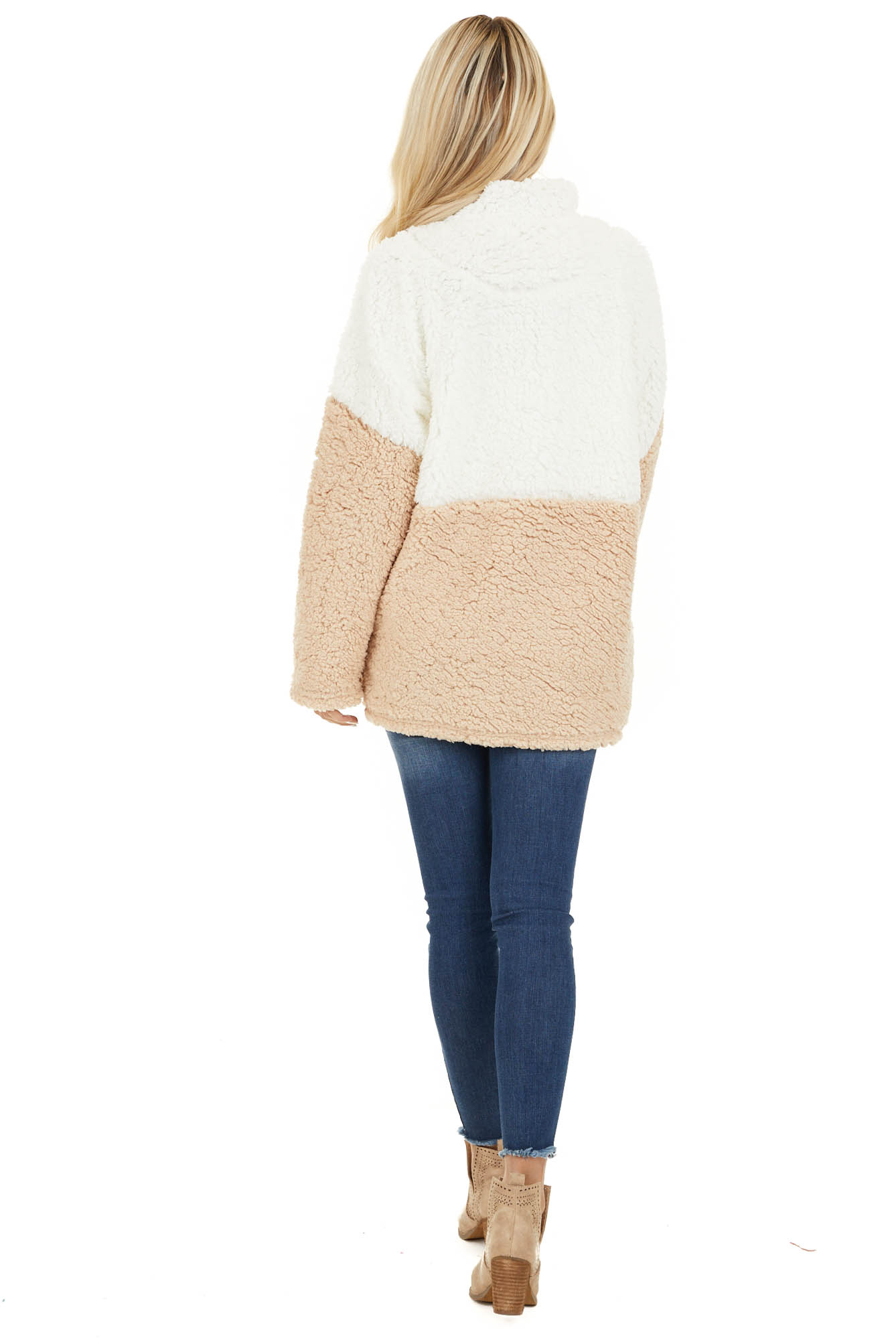 Ivory and Beige Zip Up Color Block Pullover Sweatshirt back full body