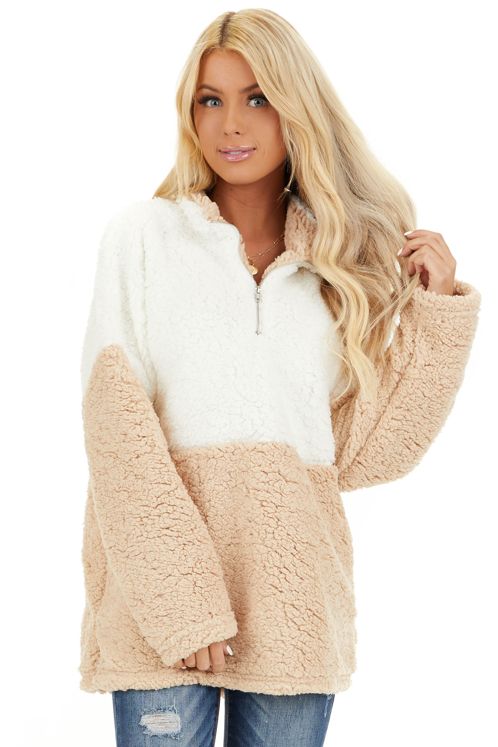 Ivory and Beige Zip Up Color Block Pullover Sweatshirt front close up