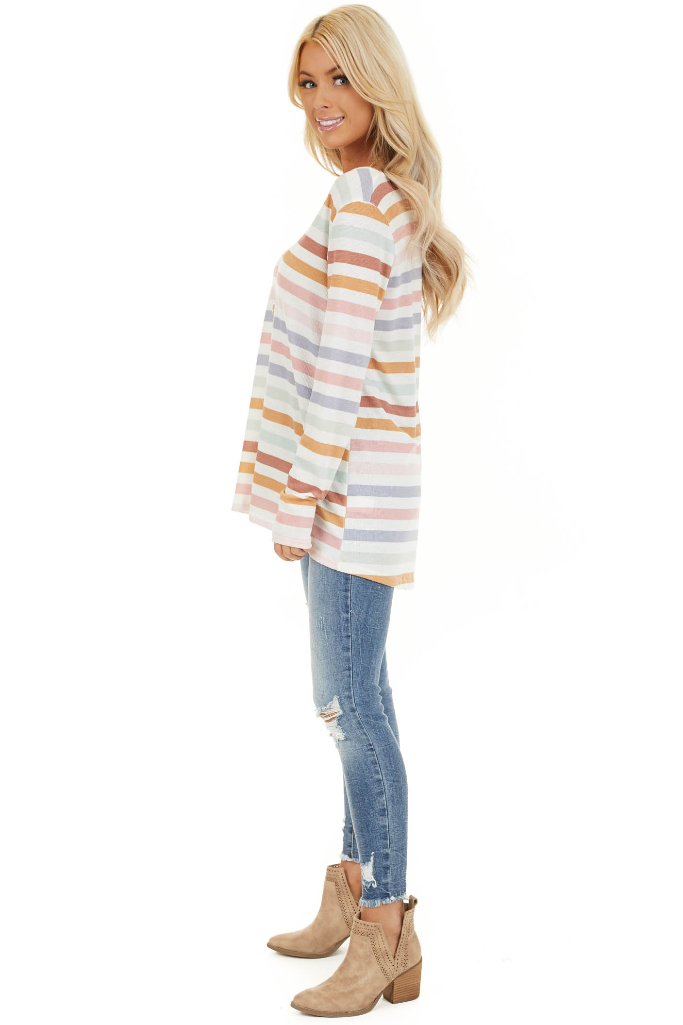 Ivory Multicolor Striped Knit Top with Long Sleeves side full body