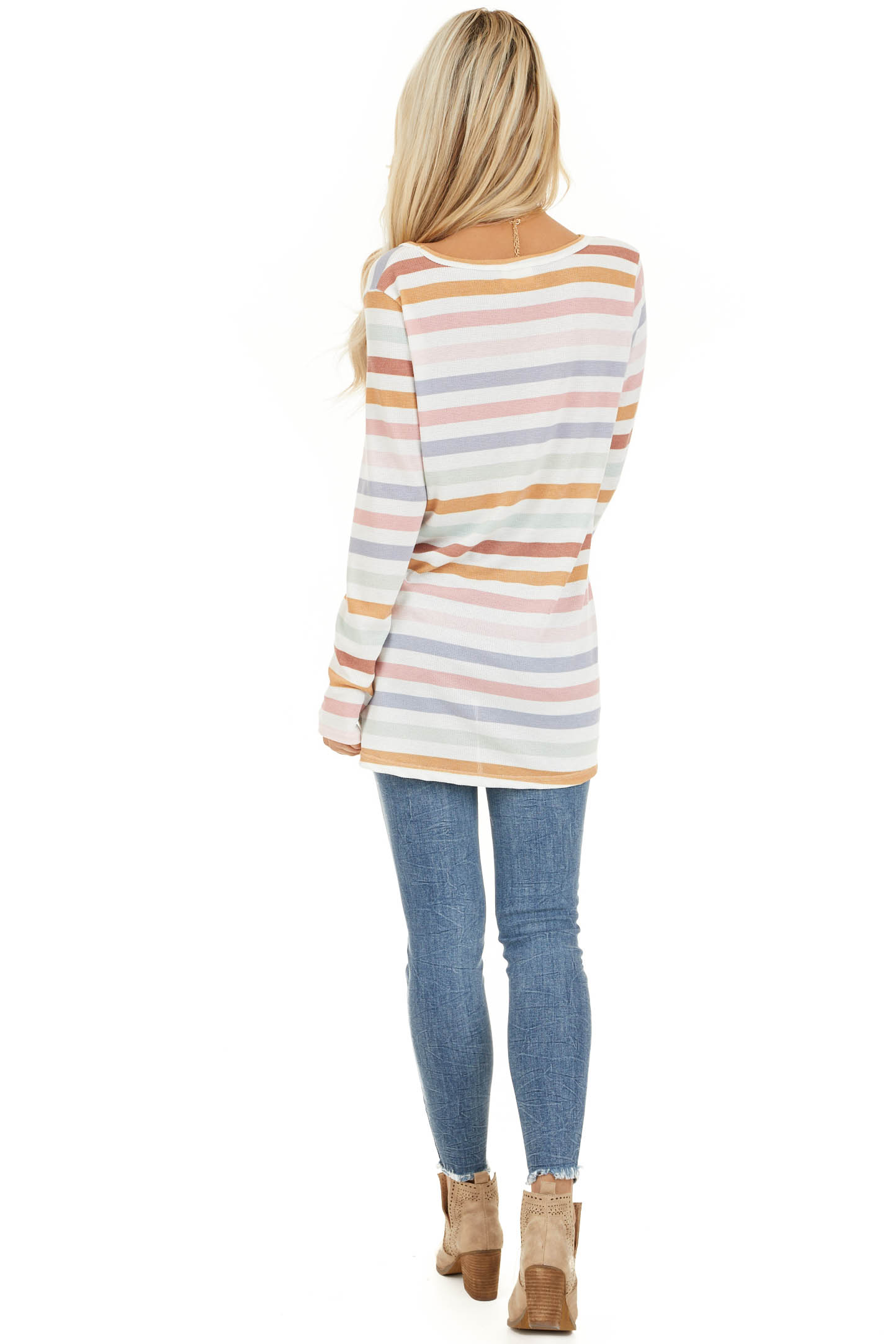Ivory Multicolor Striped Knit Top with Long Sleeves back full body