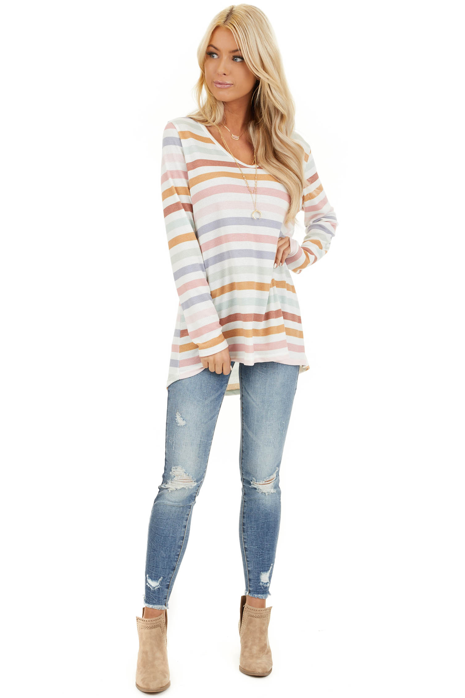 Ivory Multicolor Striped Knit Top with Long Sleeves front full body