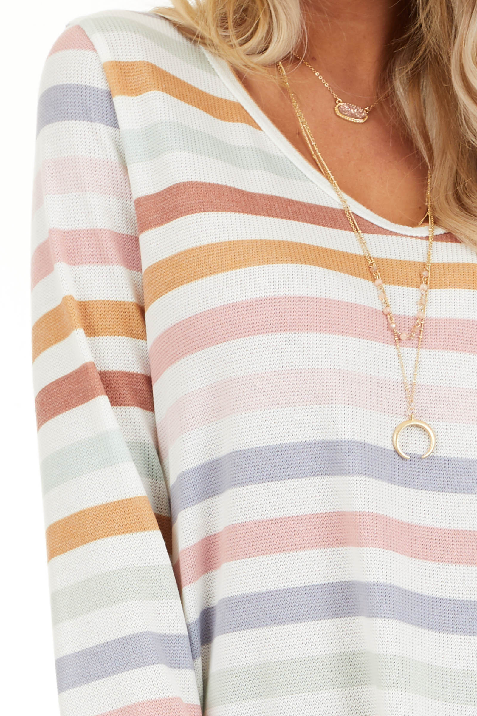 Ivory Multicolor Striped Knit Top with Long Sleeves detail