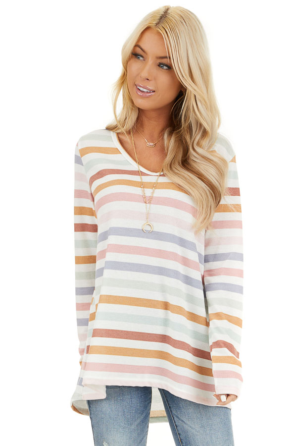 Ivory Multicolor Striped Knit Top with Long Sleeves front close up