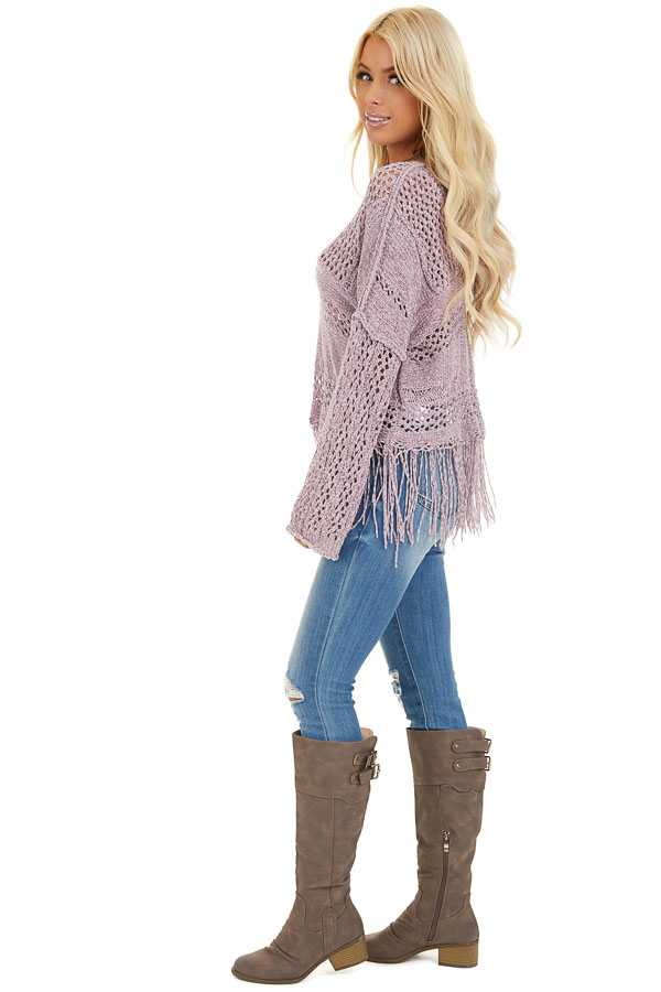 Faded Lilac Super Soft Knit Sweater with Fringe Details side full body