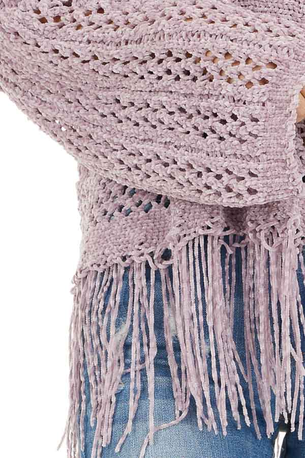 Faded Lilac Super Soft Knit Sweater with Fringe Details detail