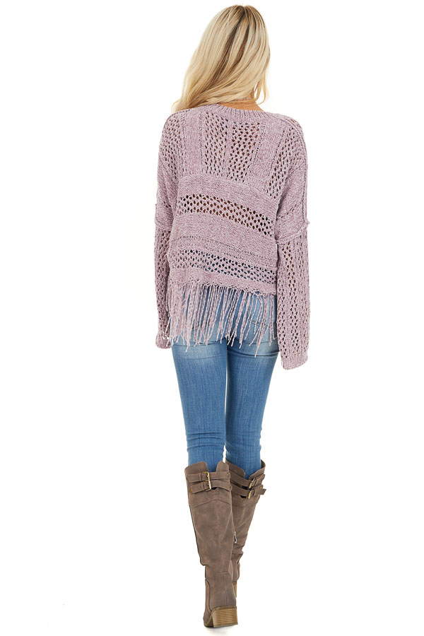 Faded Lilac Super Soft Knit Sweater with Fringe Details back full body