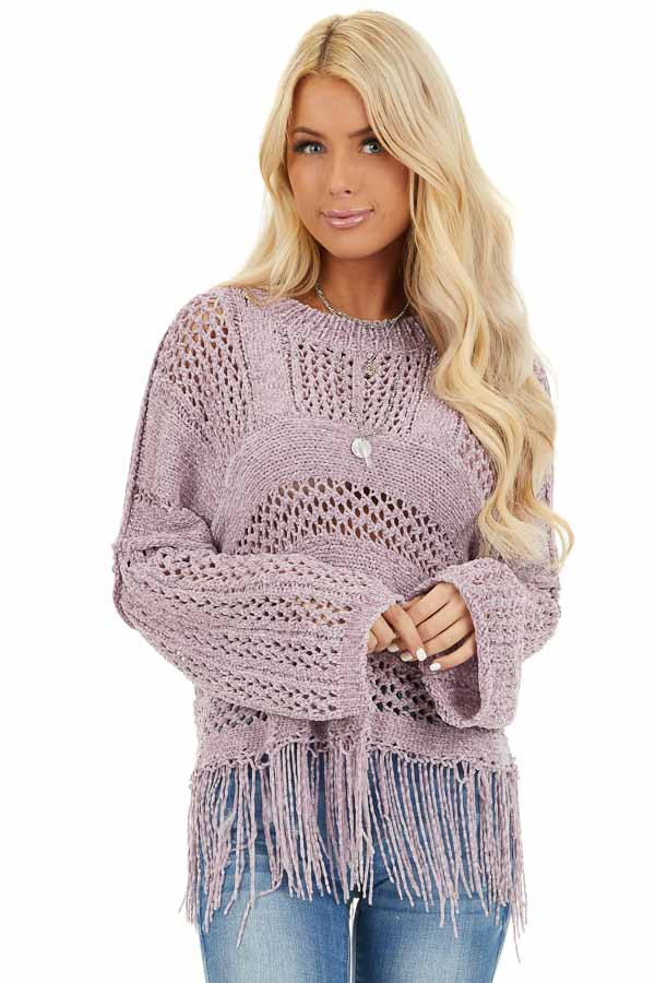 Faded Lilac Super Soft Knit Sweater with Fringe Details front close up