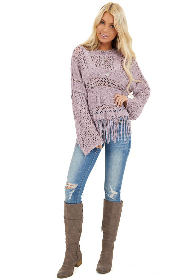 Faded Lilac Super Soft Knit Sweater with Fringe Details front full body