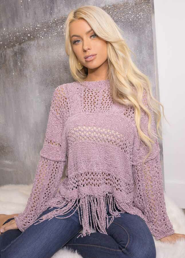 Faded Lilac Super Soft Knit Sweater with Fringe Details