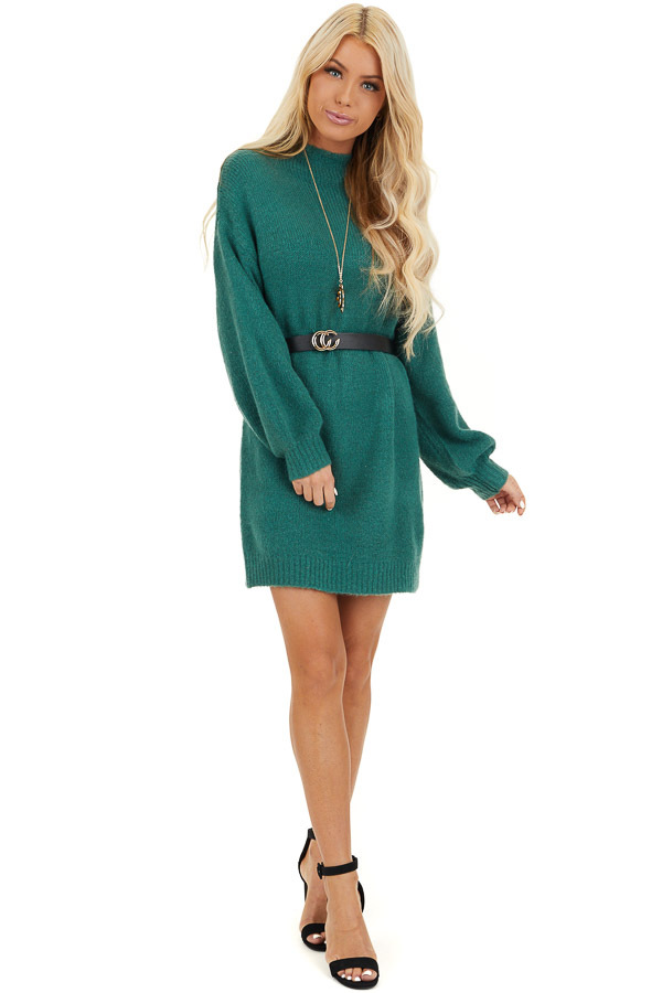 Pine Green Mock Neck Sweater Dress with Long Bubble Sleeves front full body