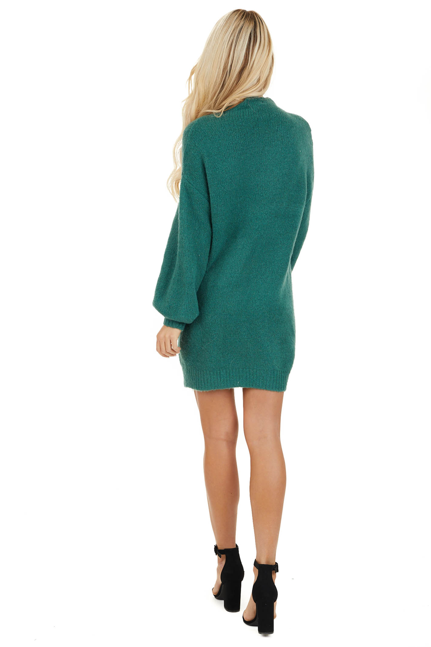 Pine Green Mock Neck Sweater Dress with Long Bubble Sleeves back full body