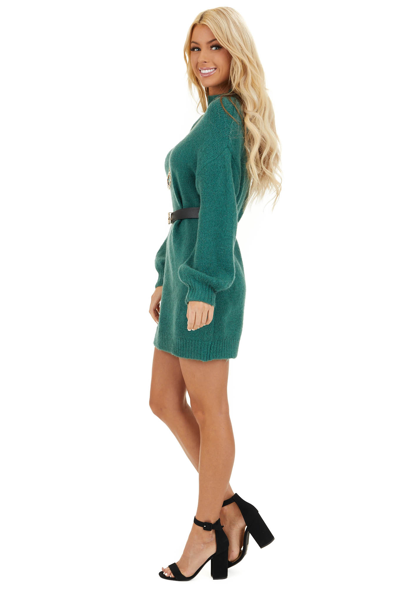 Pine Green Mock Neck Sweater Dress with Long Bubble Sleeves side full body