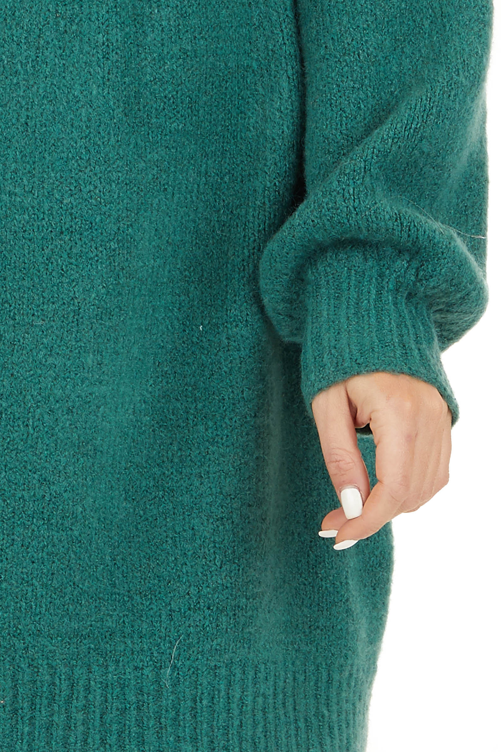 Pine Green Mock Neck Sweater Dress with Long Bubble Sleeves detail
