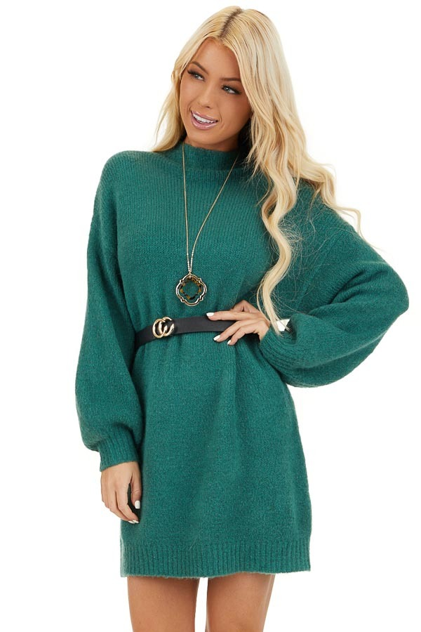 Pine Green Mock Neck Sweater Dress with Long Bubble Sleeves