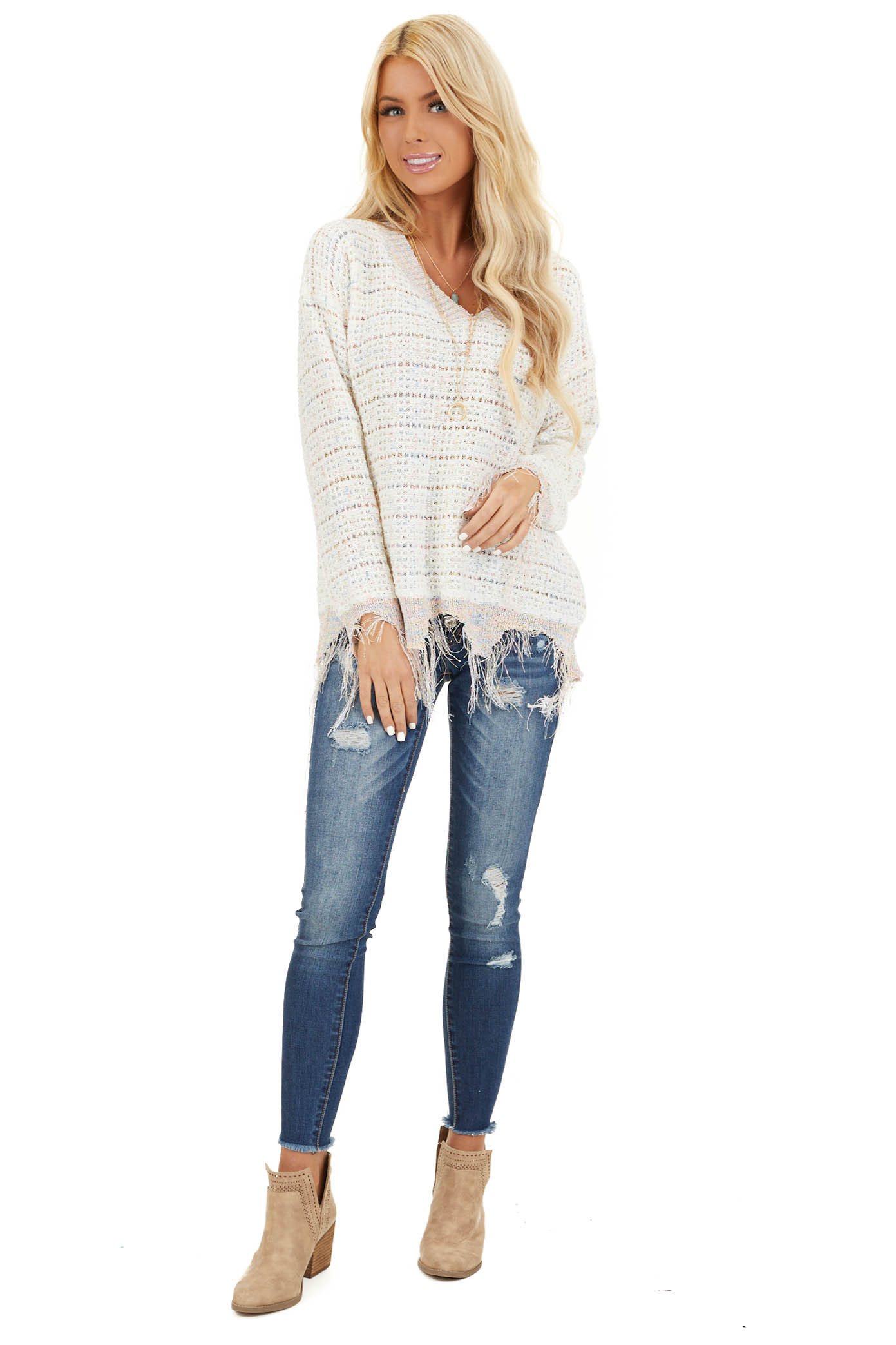Ivory Multi Color Sparkly Sweater with Distressed Details front full body