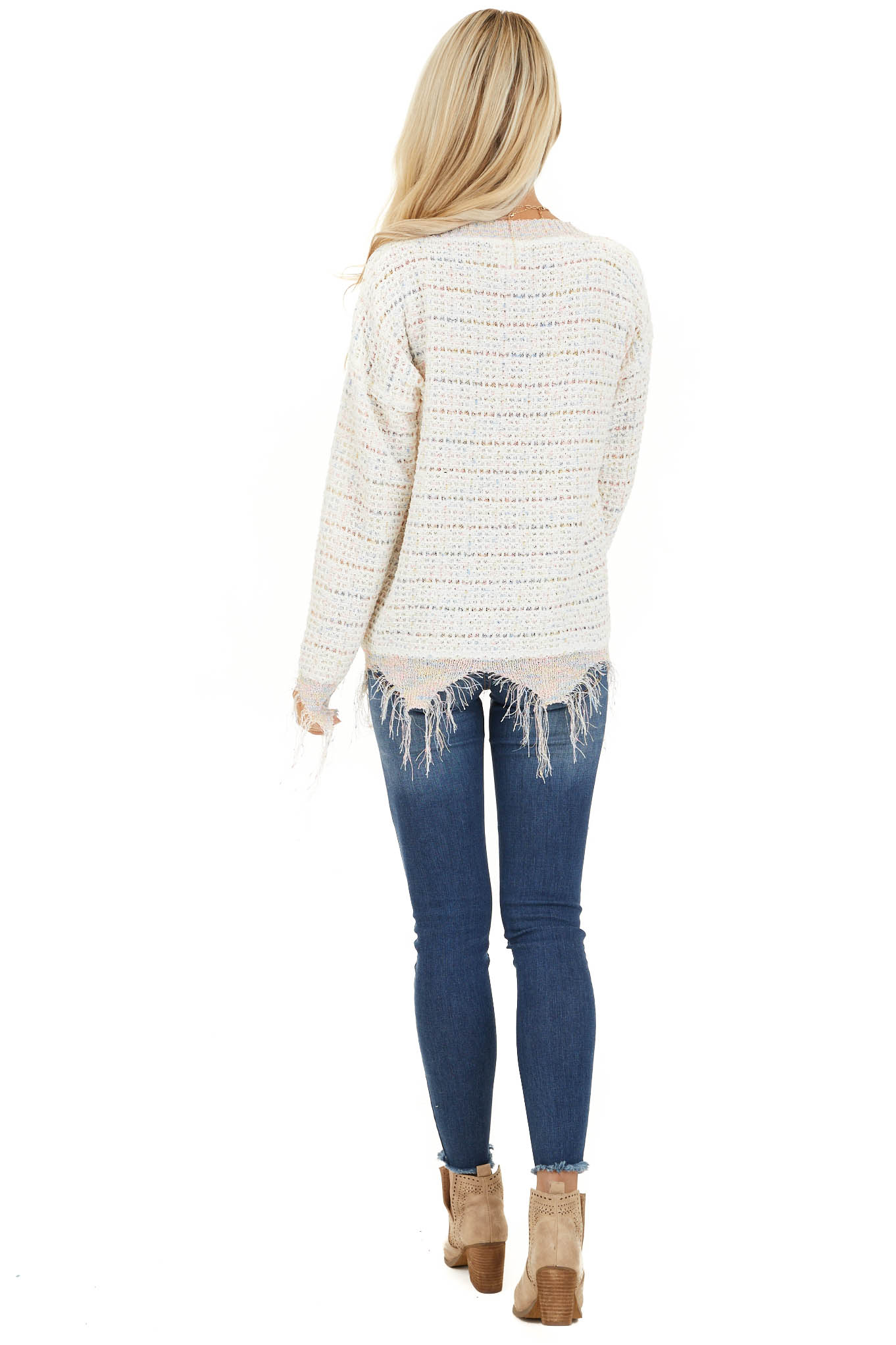 Ivory Multi Color Sparkly Sweater with Distressed Details back full body