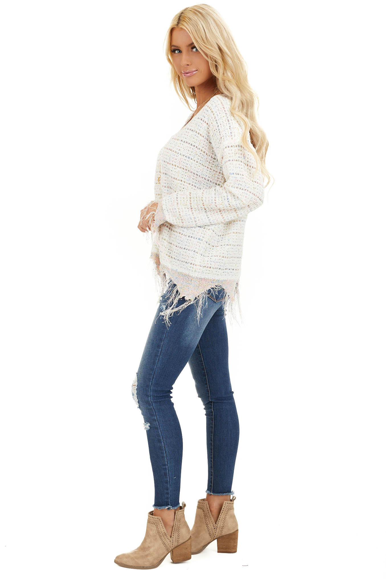 Ivory Multi Color Sparkly Sweater with Distressed Details side full body