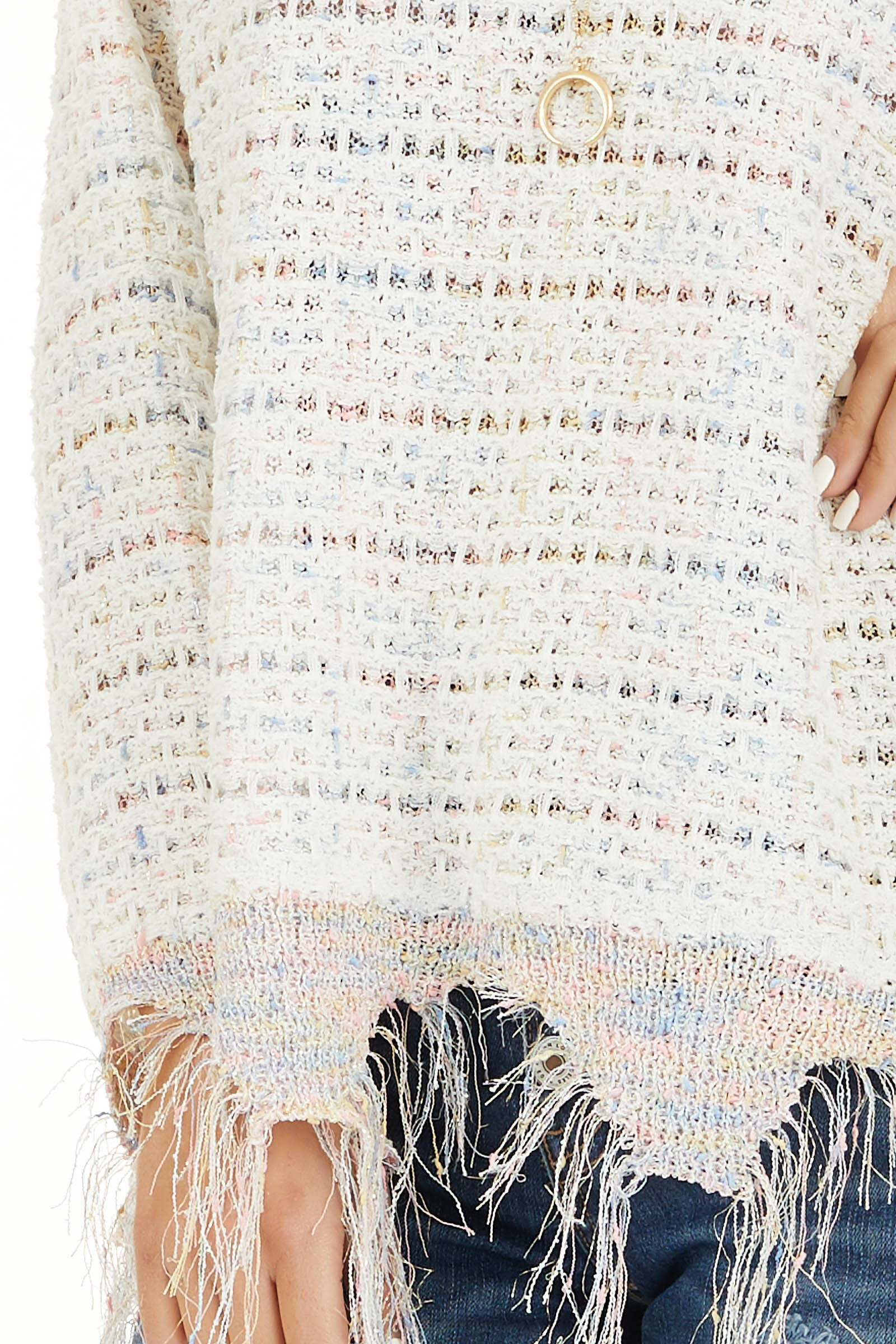 Ivory Multi Color Sparkly Sweater with Distressed Details detail