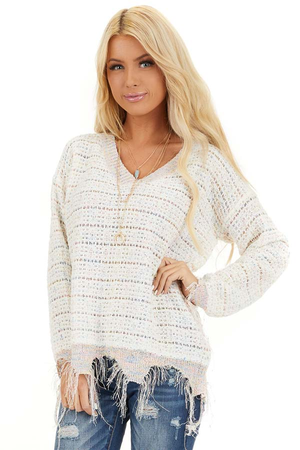 Ivory Multi Color Sparkly Sweater with Distressed Details front close up