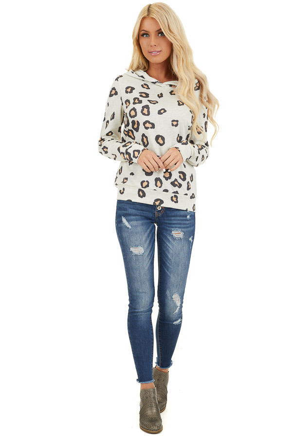 Oatmeal and Black Leopard Print Lightweight Hoodie front full body