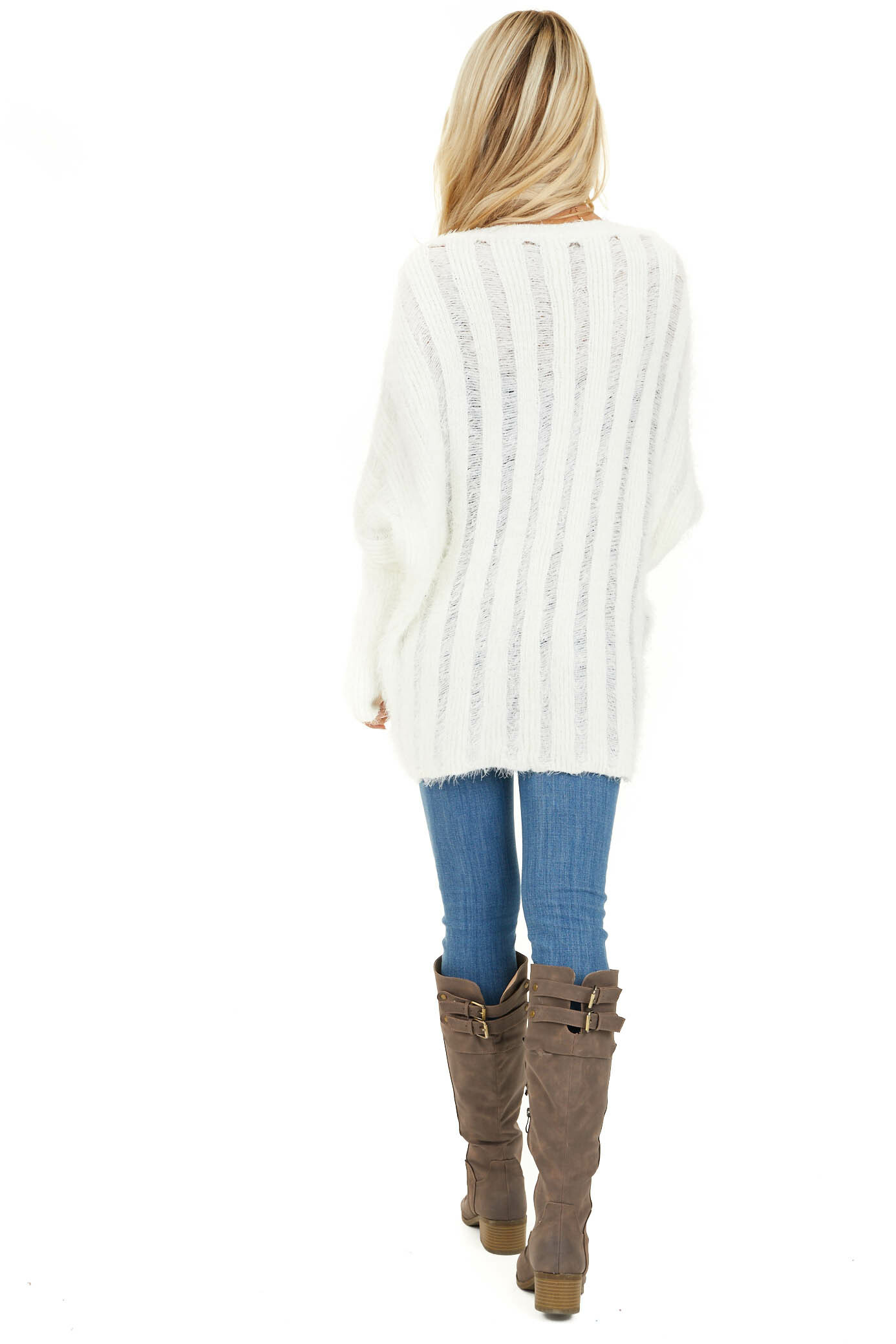 Pearl White Soft Open Front Knit Cardigan with Long Sleeves back full body