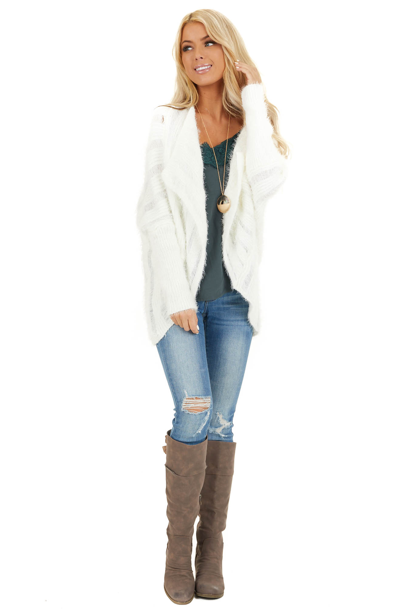 Pearl White Soft Open Front Knit Cardigan with Long Sleeves front full body