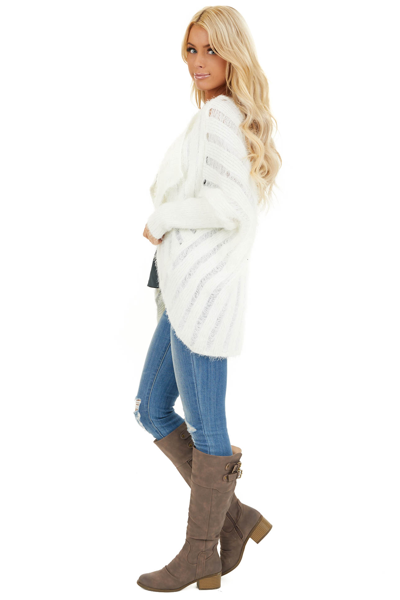 Pearl White Soft Open Front Knit Cardigan with Long Sleeves side full body