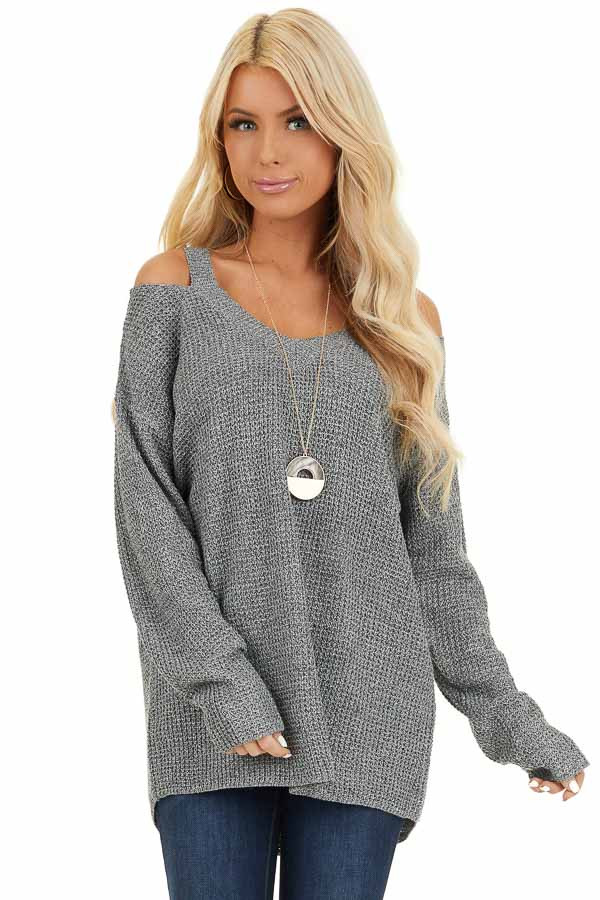 Charcoal Two Tone Cold Shoulder Waffle Knit Long Sleeve Top front close up