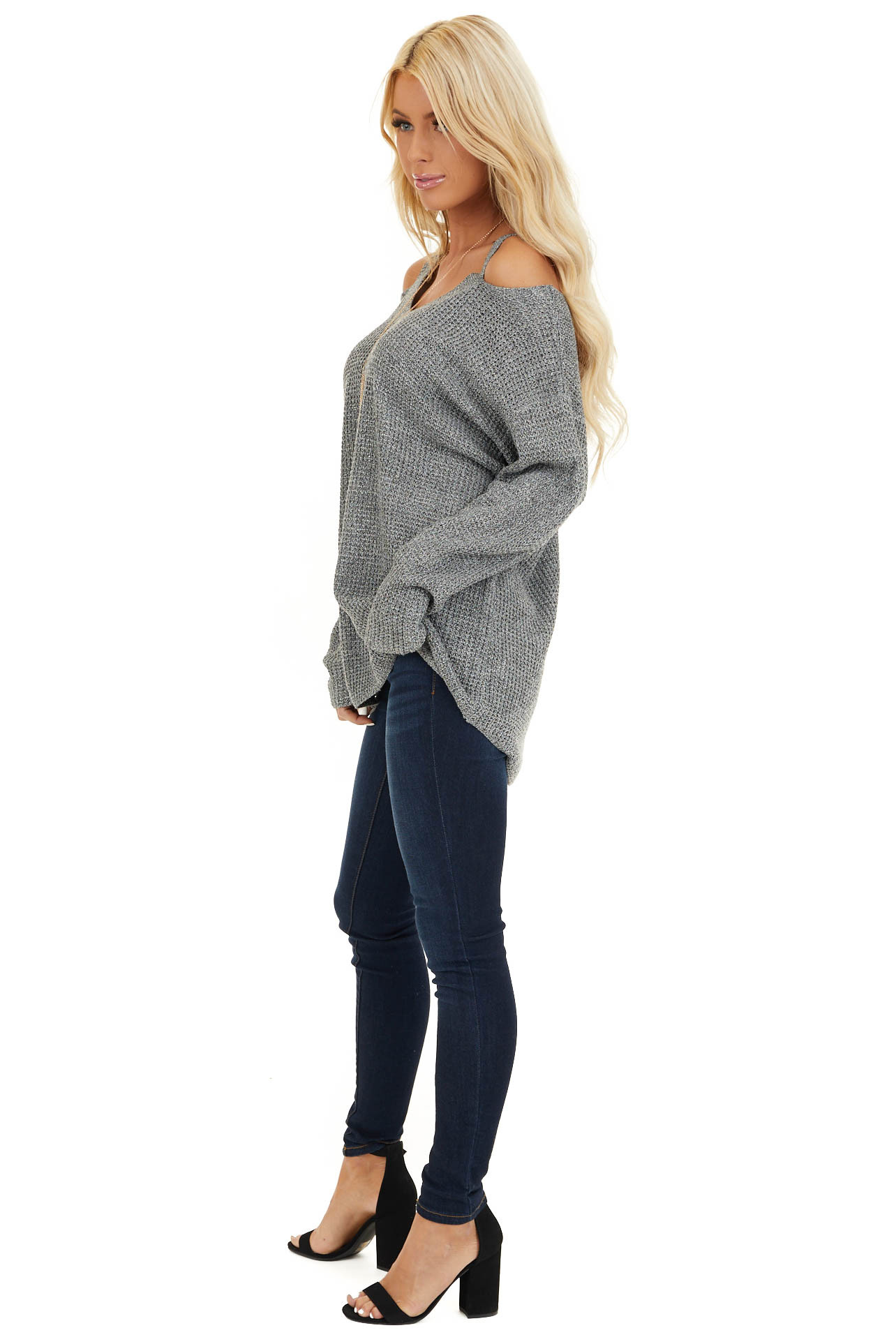 Charcoal Two Tone Cold Shoulder Waffle Knit Long Sleeve Top side full body