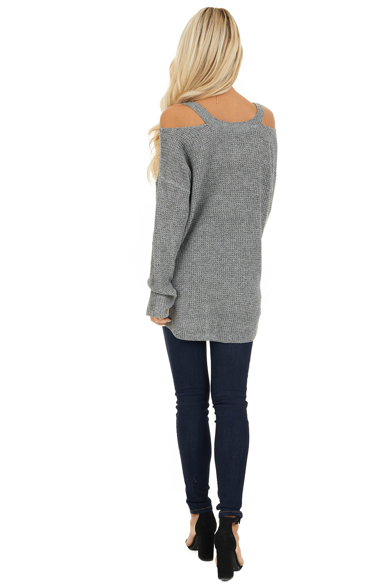 Charcoal Two Tone Cold Shoulder Waffle Knit Long Sleeve Top back full body