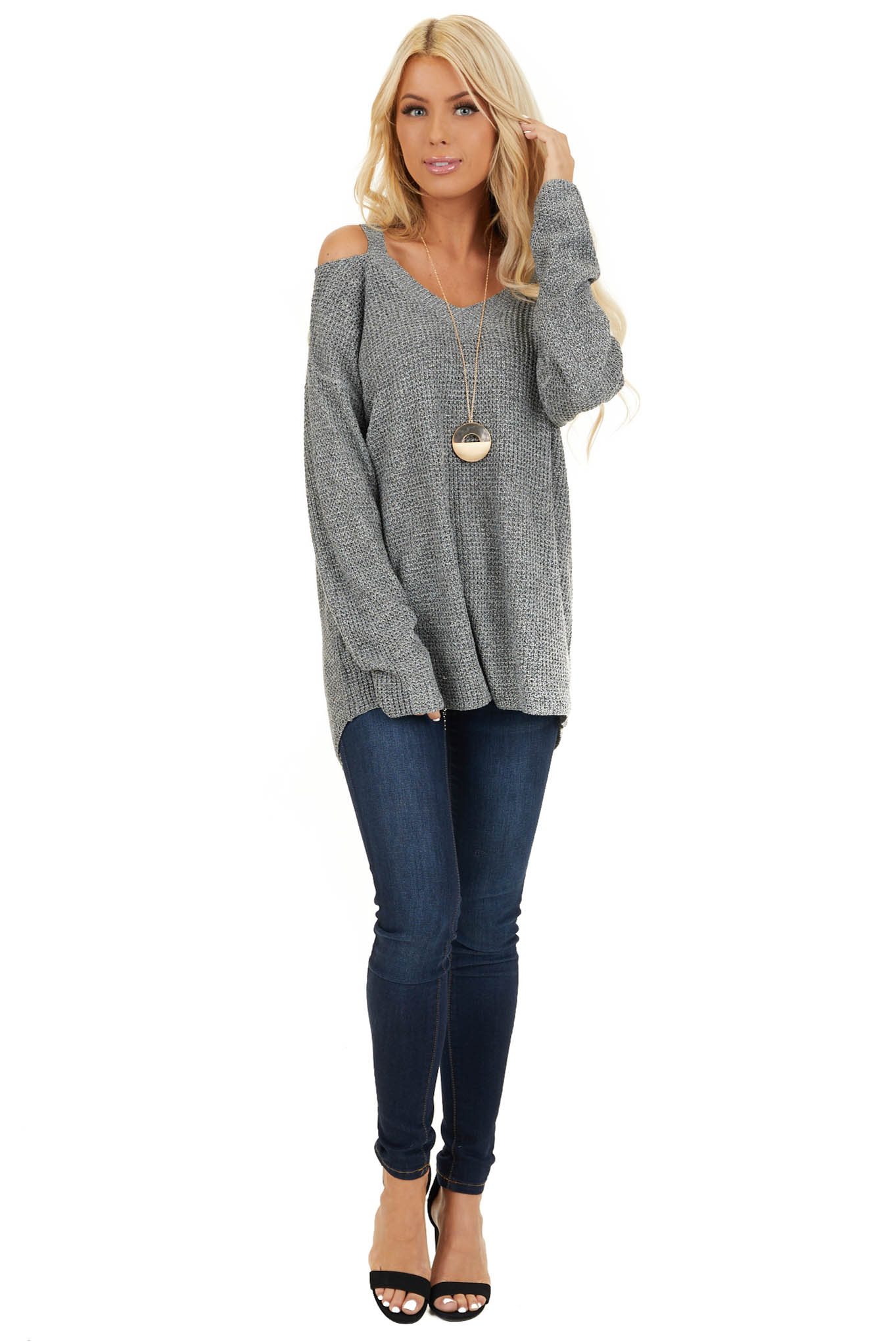 Charcoal Two Tone Cold Shoulder Waffle Knit Long Sleeve Top front full body